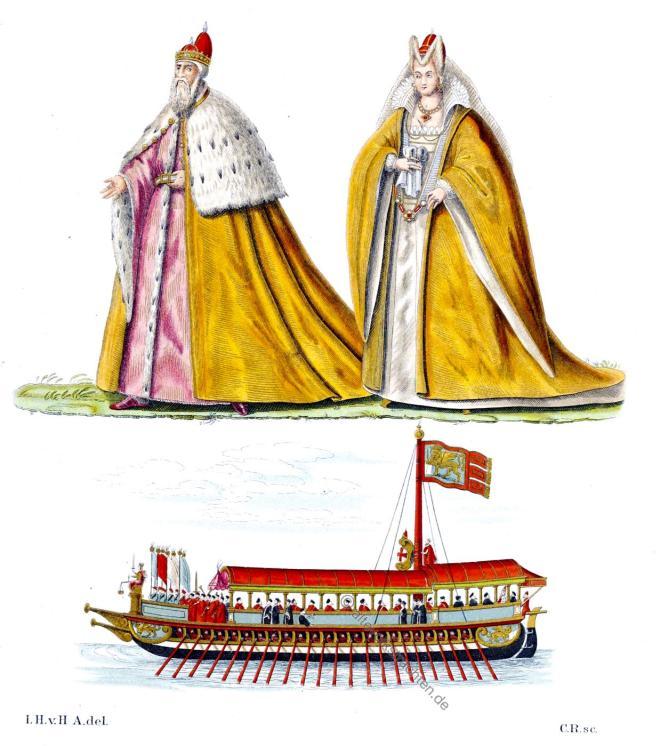 Doge, Dogaressa, Bucintoro, Gewänder, Kleidung, Venedig, Galeasse, Renaissance, Italien