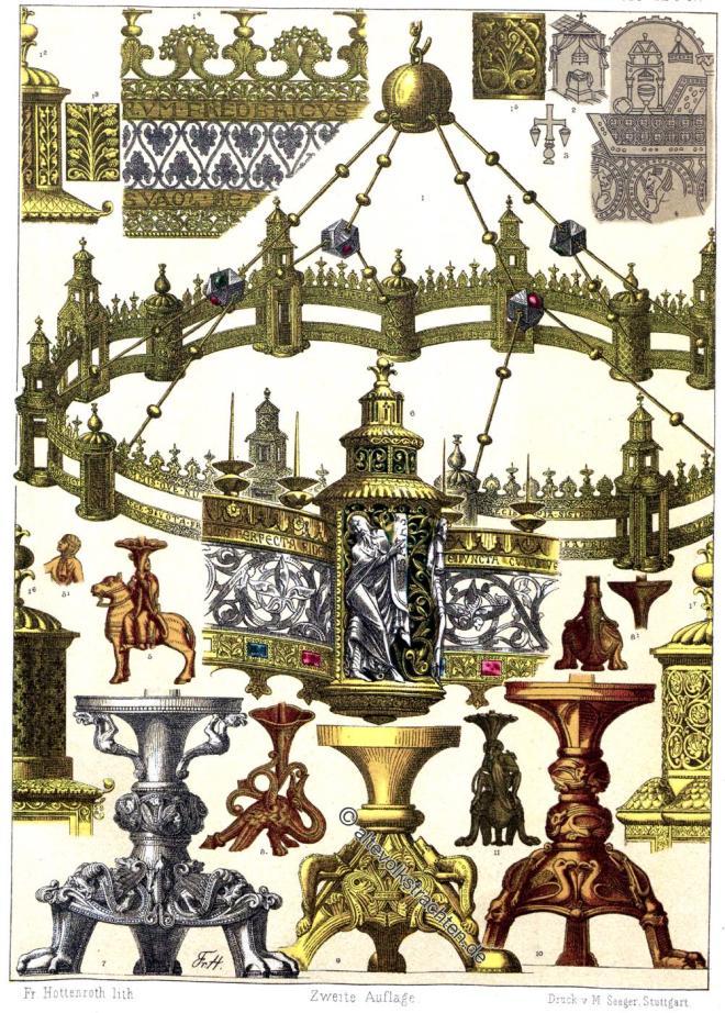 Friedrich Hottenroth, Beleuchtung, Mittelalter, Kronleuchter