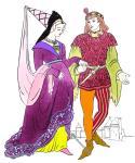 Cotehardie, Houppelande und Hennin. Mode des späten 14. Jahrhunderts.