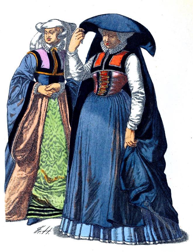 Gewandung, Kostüme, Vornehme Frauen, Köln, Renaissance, Bürgerinnen, Friedrich Hottenroth