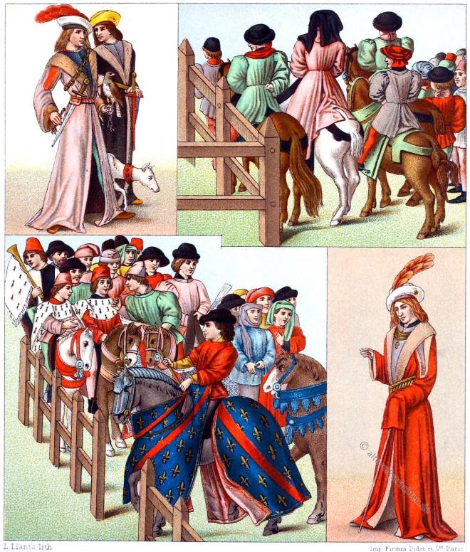 Edelleute, Gewandung, Gotik, Turnier, Mittelalter, Ritter, Kostüme, Modegeschichte, Tournai du roi René,