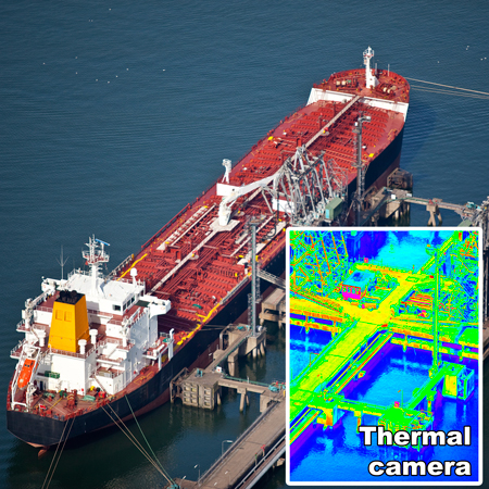 Boat terminal inspection and security surveillance by drone with HD and thermal infrared camera