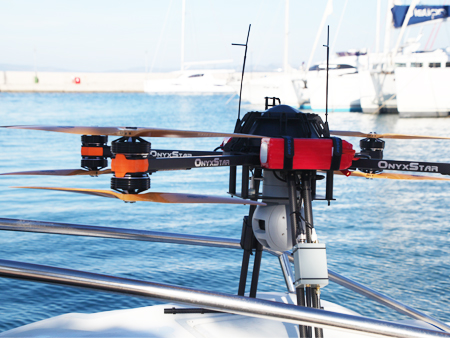 Our drone on the rescue boat