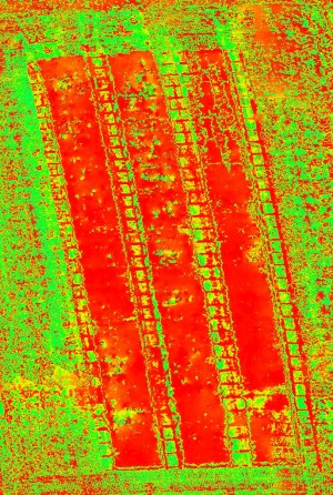 NDVI orthophoto made afther the drone survey using the OnyxStar XENA,UAV, an Optris PI450 thermal camera and Agisoft PhotoScan Pro for photogrammetry