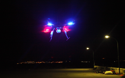Our drone takes off engaged in a new refugees rescue mission, during the night together with the SAR teams