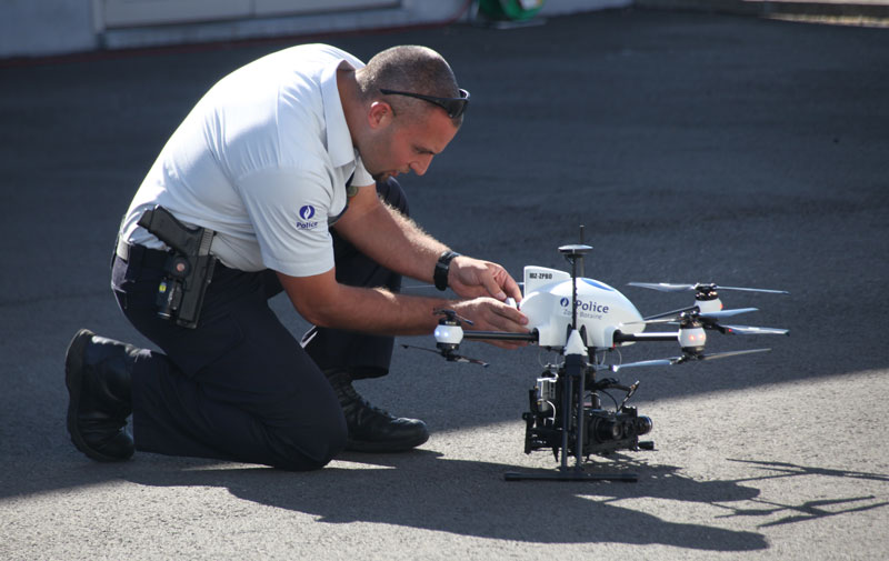 Police drone ready to takeoff