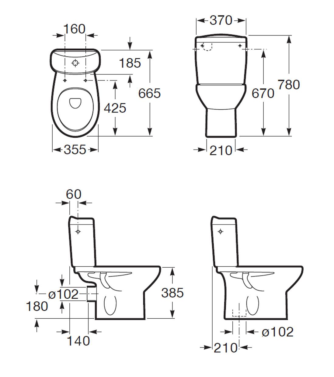Roca Laura Eco Close Coupled Wc Pan Including Dual Flush