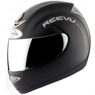 Fullface solid black helmet with rear vision