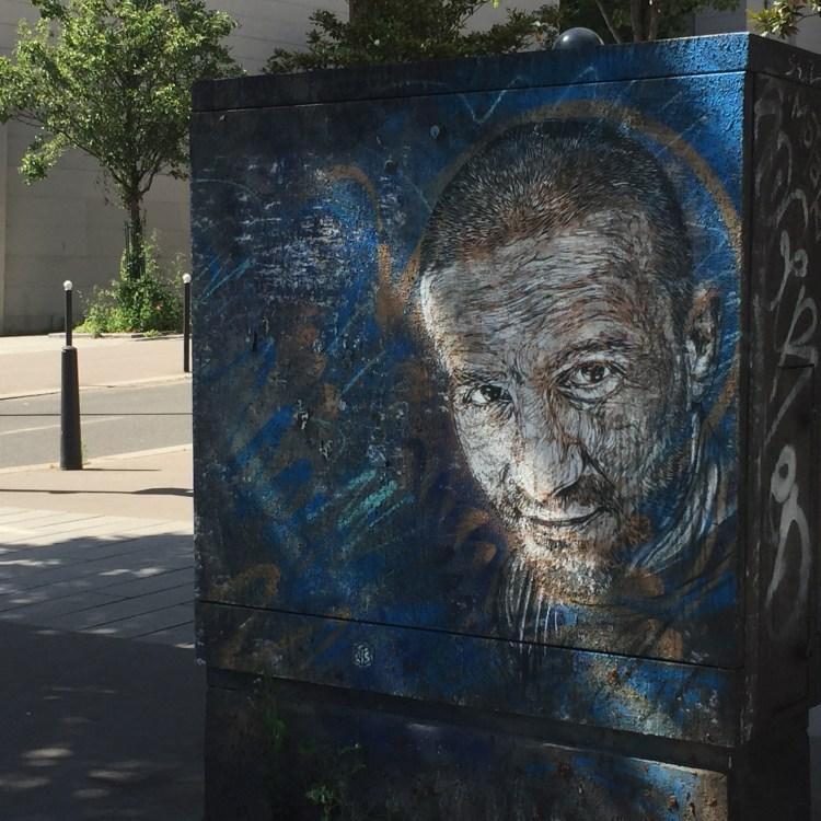 oeuvre de Christian Guemy alias C215 sur un boitier electrique à Paris
