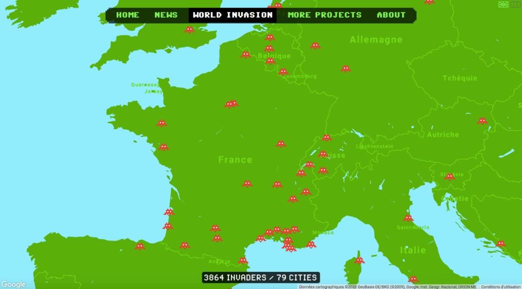 Carte des Invader dans le monde entier