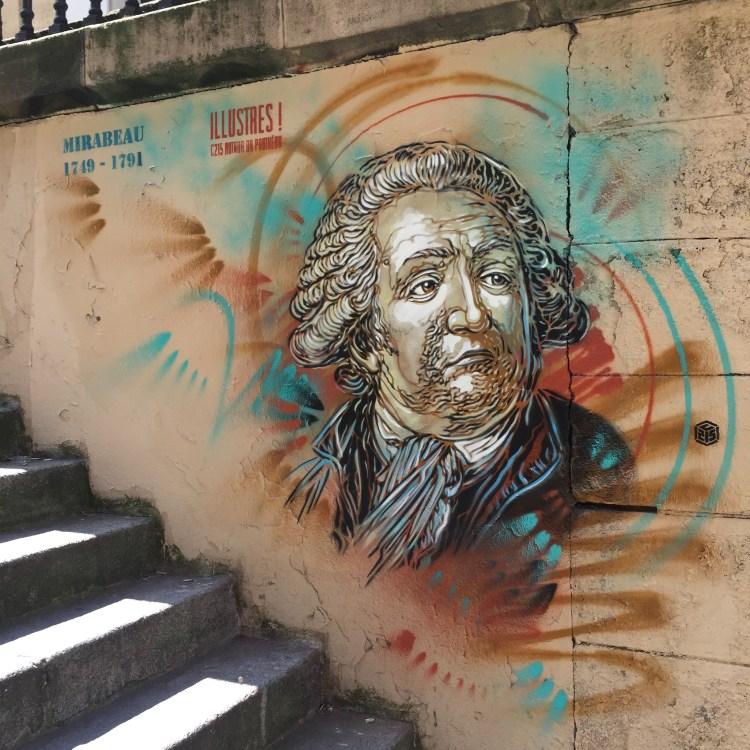 Mirabeau done at stencil by Christian Guémy alias C215 around the Parisian Panthéon