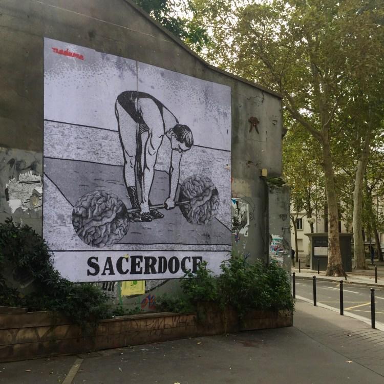 Sacerdoce - Collage de la Street Artiste Madame à Paris