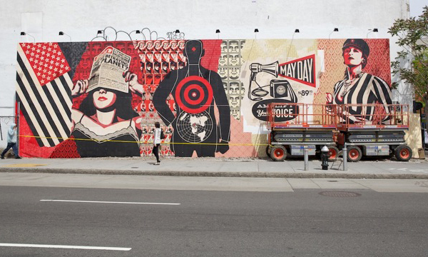 Houston Bowery Wall par Shepard Fairey