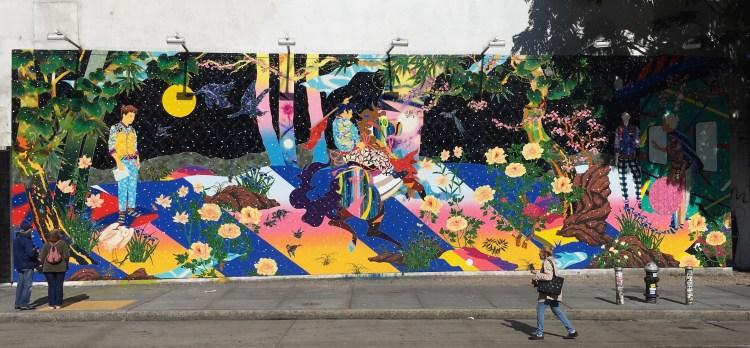 Fresque murale géante sur le mur Street Art Houston Bowery Wall par Tomokazu Matsuyama