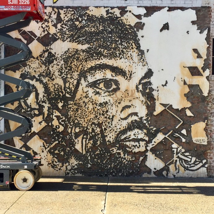 Portrait par Vhils - Liitle Italy - Lisa Project - Street Art New York