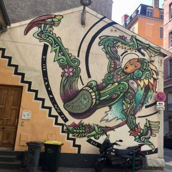 Fresque murale réalisée par l'artiste SPONE à l'a Croix-Rousse
