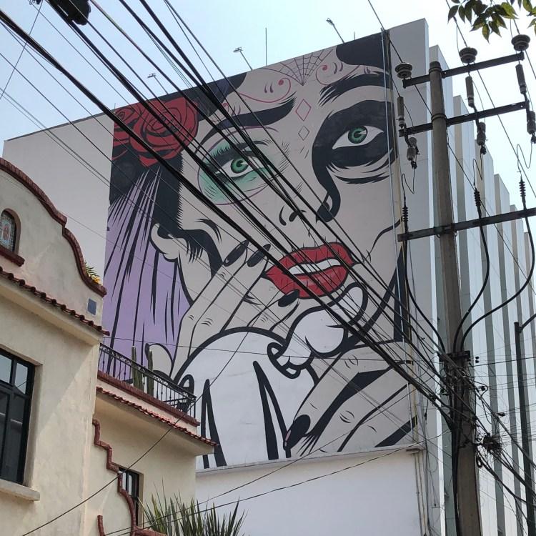 Magnifique fresque murale réalisé par l'artiste D*FACE à MEXICO City