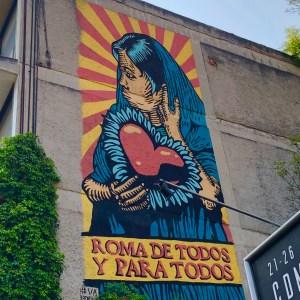 Fresque murale de Kloerk à Mexico City quartier de Roma Norte