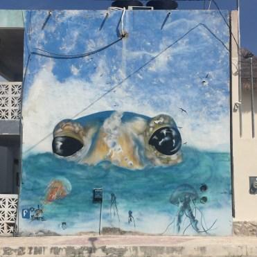 Street Art Holbox - frog-grenouille realisée par Pinta o muere