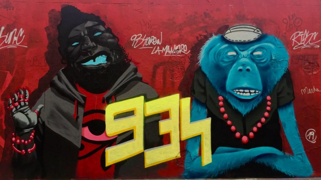 Fresque murale réalisée par Sun.C et le 934 Crew Mur Ordener Paris