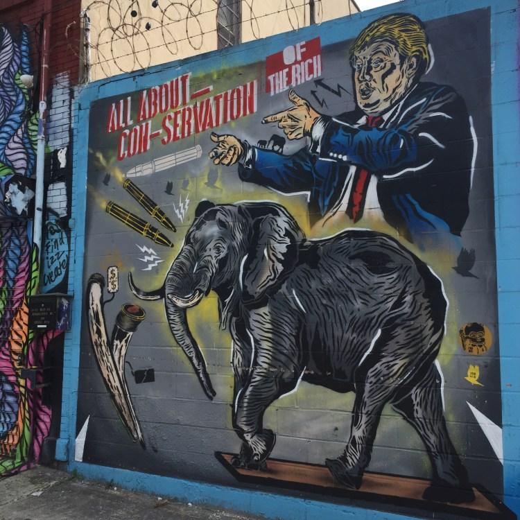 street art, fresque murale pour la défense des éléphants réalisée par Praxis au Welling Court Mural Project dans le Queens