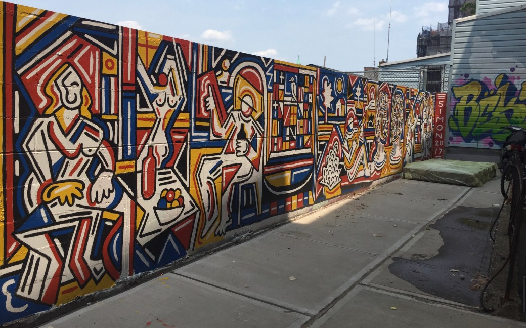 Fresque murale de Simon Cooper peintre New-Yorkais - Scène de buffet réalisée dans le Queens pour le Welling Court Mural Project