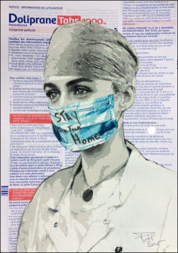 Oeuvre originale du Street Artiste POLAR BEAR pour Projet SAATO au profit de la Fondation des Hôpitaux pour la lutte contre le coronavirus
