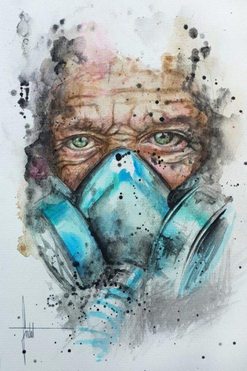 Coronavirus - oeuvre originale du street artiste SANDROT - Projet SAATO - donation Fondation des Hopitaux - Coronavirus