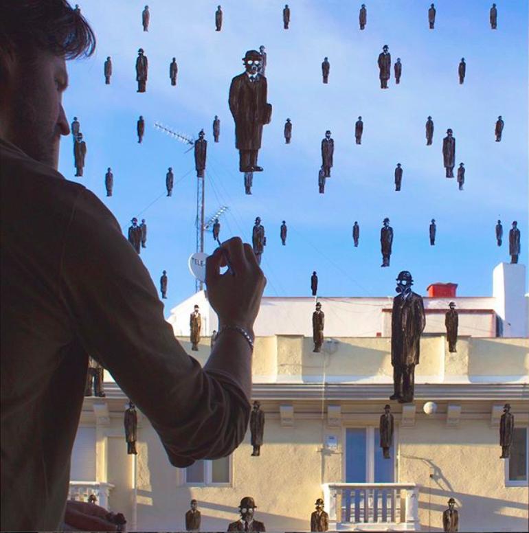Oeuvre peinte sur une fenêtre par l'artiste PEJAC pendant le confinement pour le projet Stay Art Home