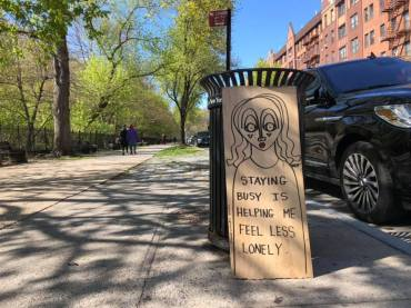 Staying busy is helping me feel less lonely - Sara Erenthal - Street Art NYC - Brooklyn