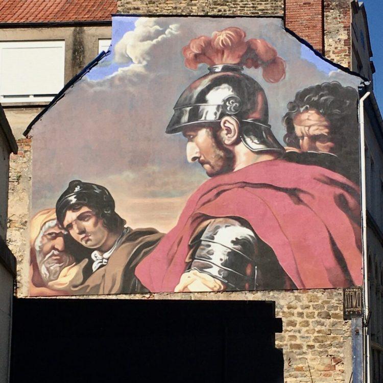 Fresque murale représentant Belisarius par Andréa Ravo Mattoni - Street Art Boulogne-sur-mer