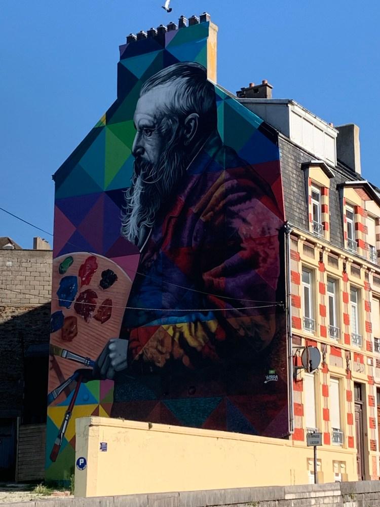 fresque murale réalisée par Eduardo Kobra représentant Claude Monet à Boulogne-sur-mer