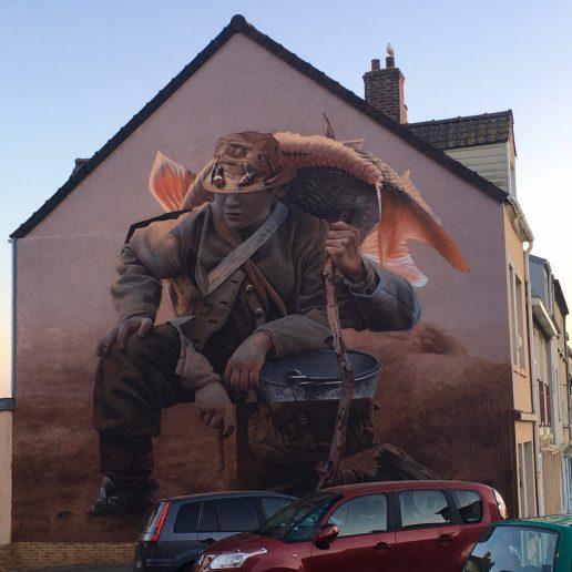 Street Art Boulogne-sur-mer : Le Pêcheur par Telmomiel