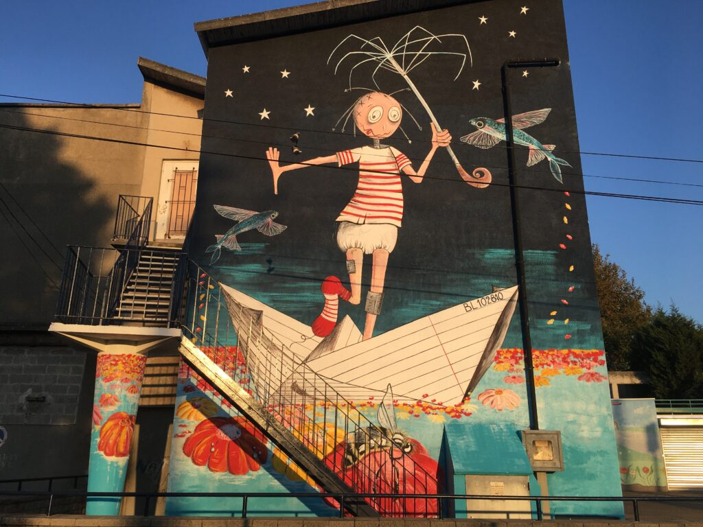 Fresque murale : Les Rafistolés par Marina Toussent - Marika Artist- Street Art Boulogne sur mer