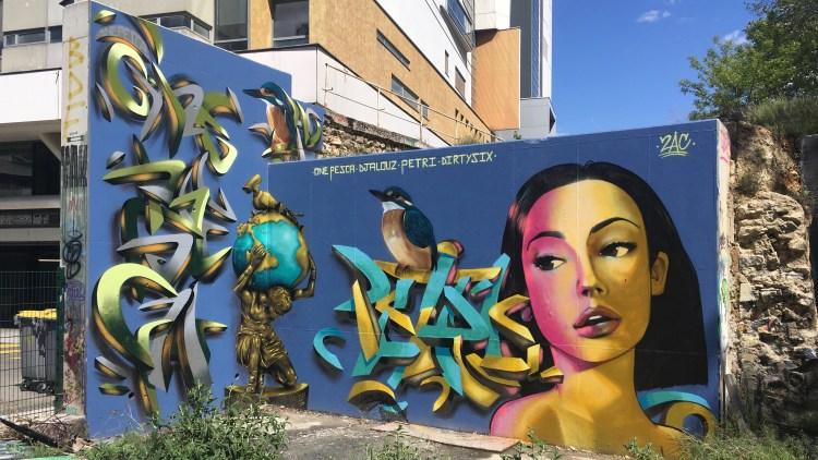 Oeuvre collective au Spot 13 Paris avec les artistes One Pesca - Djalouz - Petri et Dirtysix