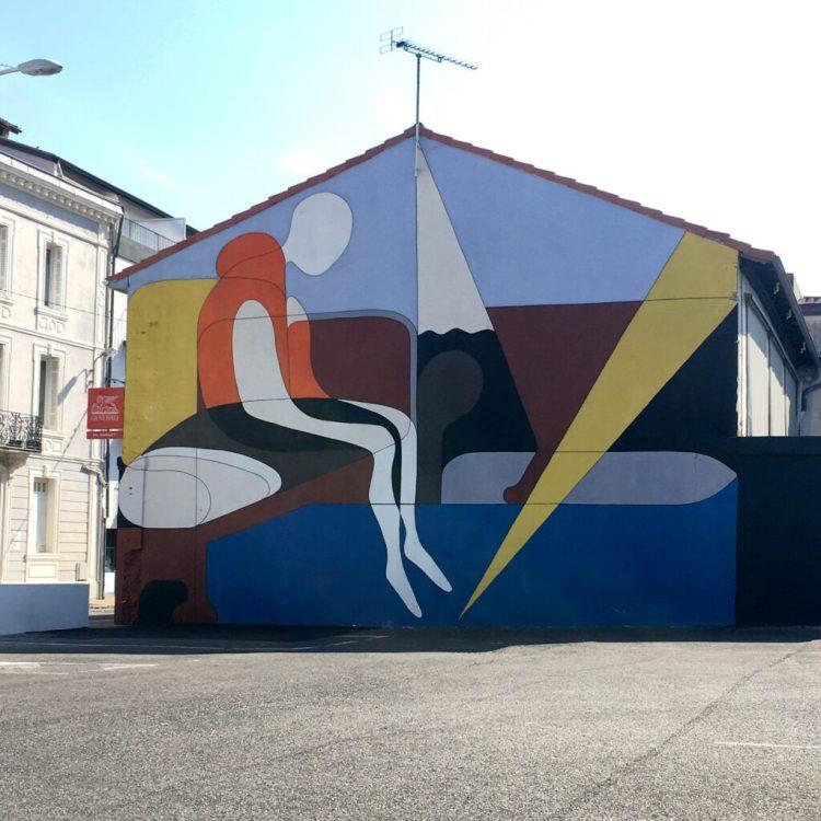 Un sauvage - fresque murale évoquant les boat people à Dax réalisée par Jean-Luc Feugeas
