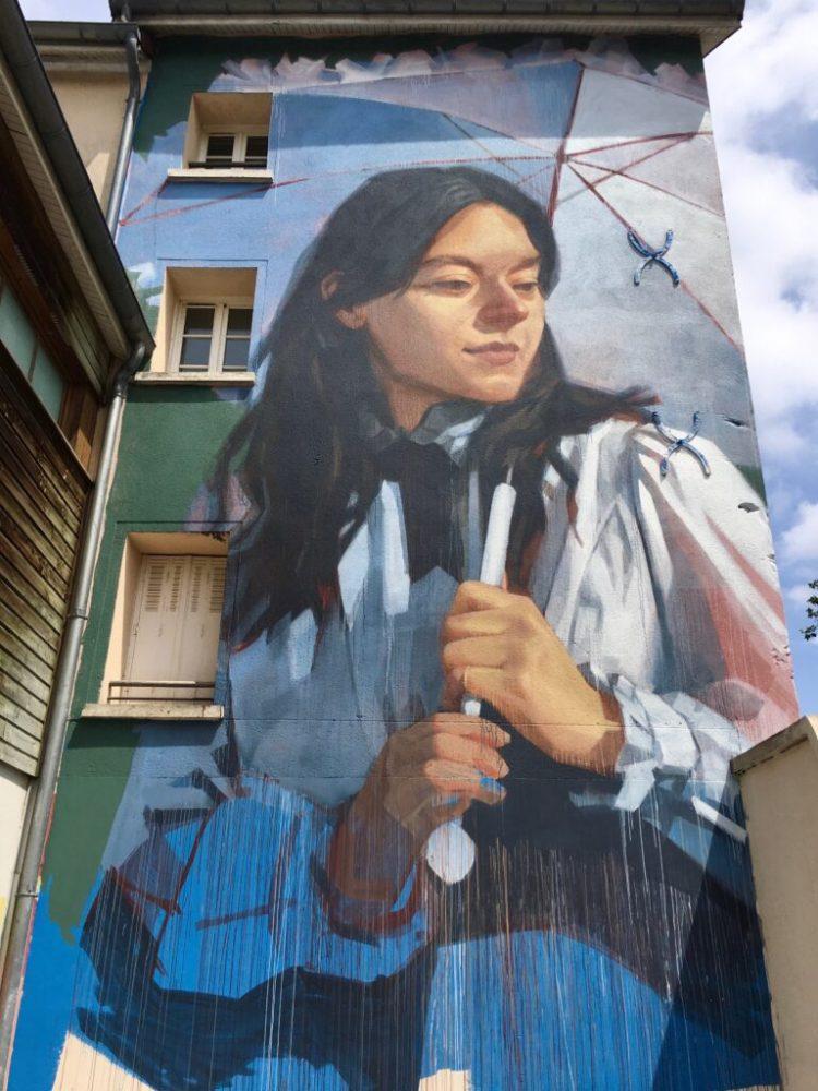 Street Art Chatou - La femme à l'ombrelle de Claude Monet réinterpretée par Emmanuel Jarus