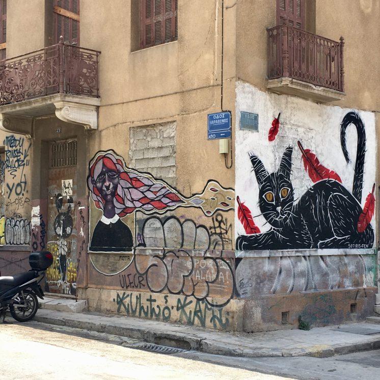 Chat graffitis Athènes Street Art
