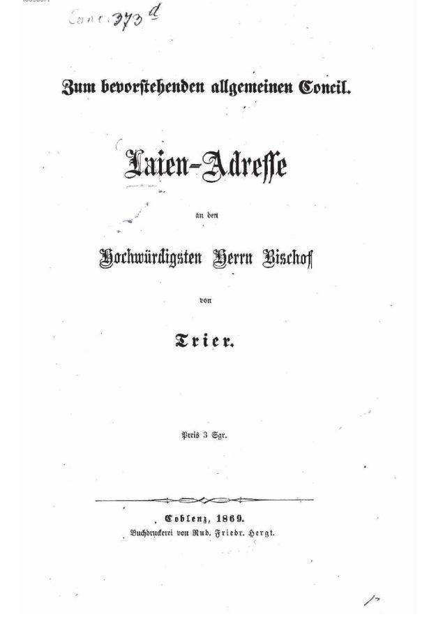 eForum zur Koblenzer Laienadresse 1869