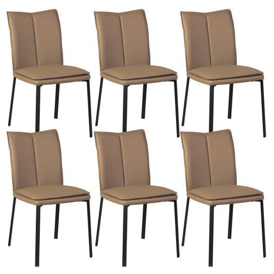 callum lot de 6 chaises taupe avec sur coussin