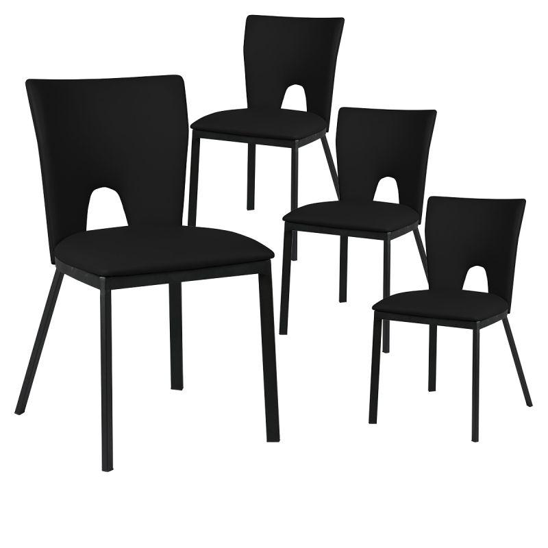 catalia lot de 4 chaises noires metal et simili