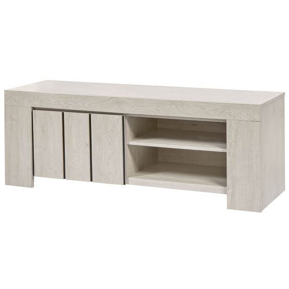 galaad meuble tv 1 porte 2 niches effet chene blanchi