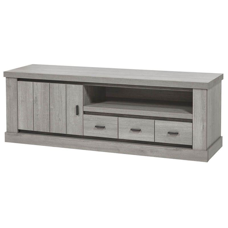 massyle meuble tv 1 porte et 1 tiroir aspect bois