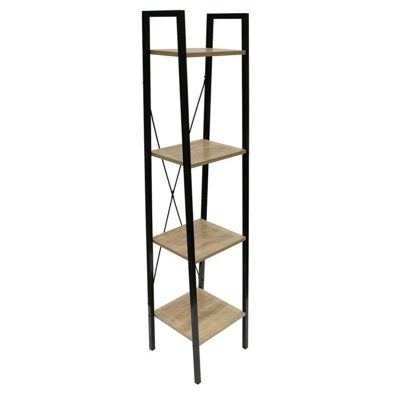 dara etagere simple 4 plateaux metal et aspect bois