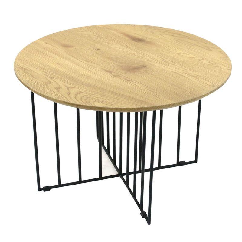 madia table basse ronde pieds metal et plateau bois
