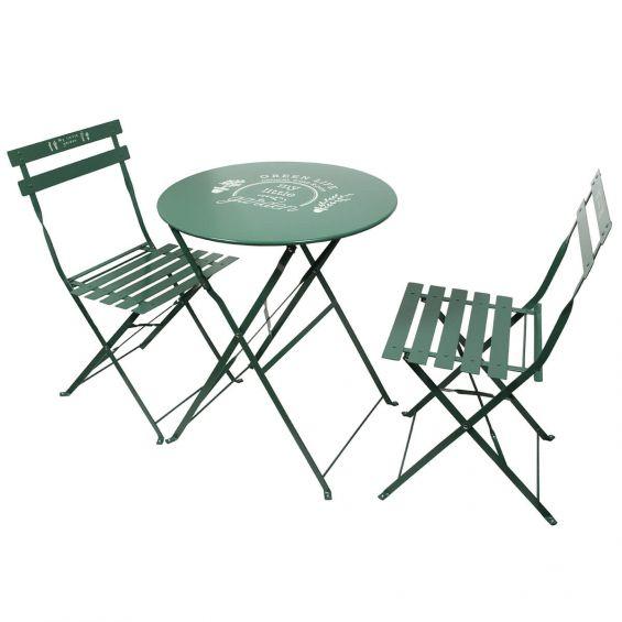 fiora table de jardin et 2 chaises pliables vertes