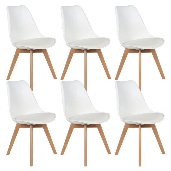 medaline lot de 6 chaises scandinaves blanches