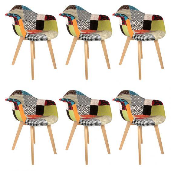 patchwork lot de 6 fauteuils scandinaves multicolore