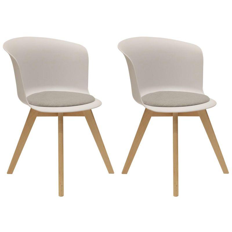 enael lot de 2 chaises blanches avec assise grise