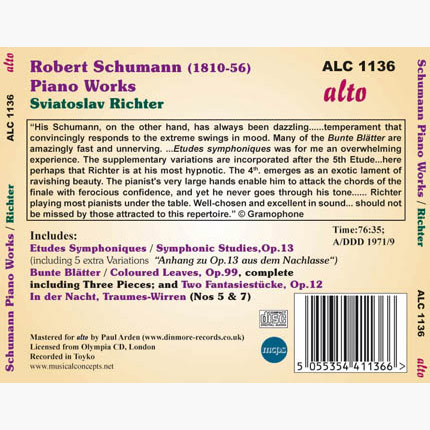ALC 1136 - Schumann: Piano Works
